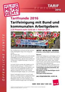 Tarifrunde ÖD 2016: Info vom 07.12.2016